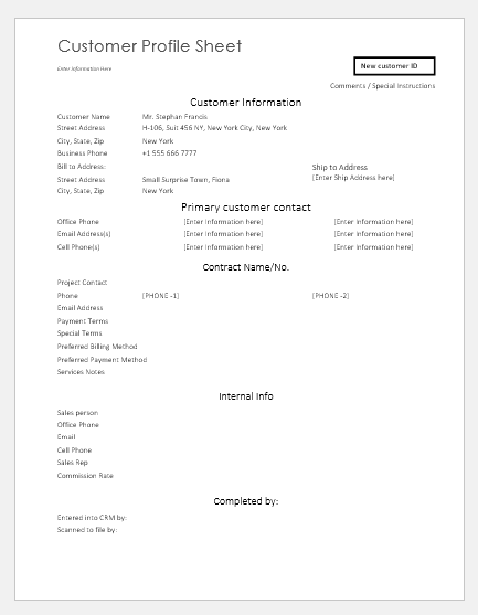 Customer profile sheet templates for ms word word excel templates customer profile sheet template maxwellsz
