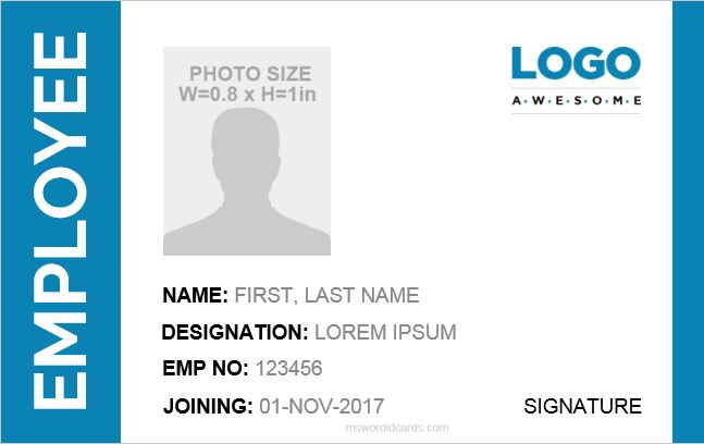 10 Best Employee ID Card Formats for MS Word | Word ...