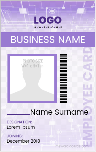 ID badge sample for Employees
