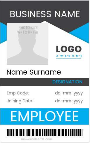 10 best ms word id cards for office employees word. Black Bedroom Furniture Sets. Home Design Ideas
