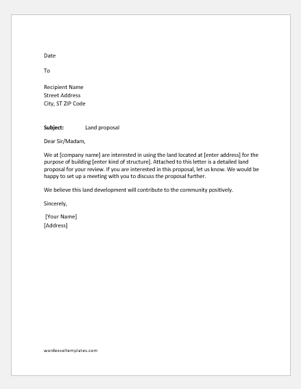 Miscellaneous Letters for Land Renting & Acquisition | Word