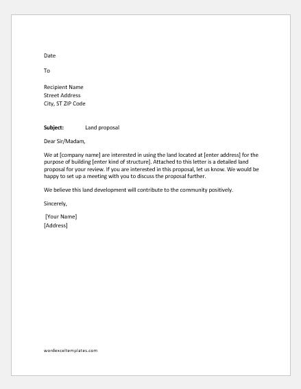 Land proposal letter
