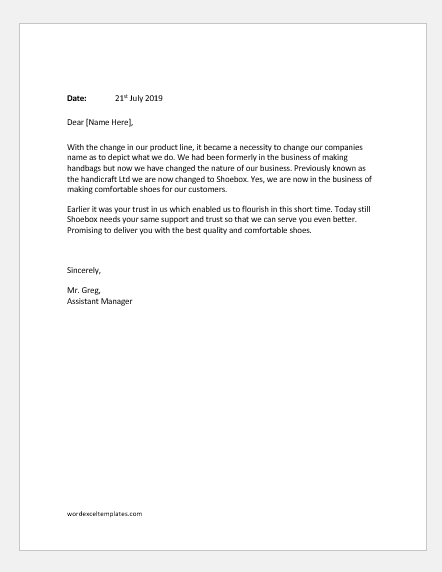 Letter announcing changes in company