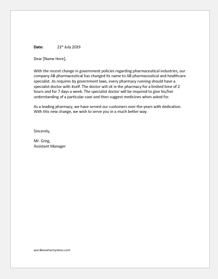 Letters Announcing Customers about Changes in Company | Word