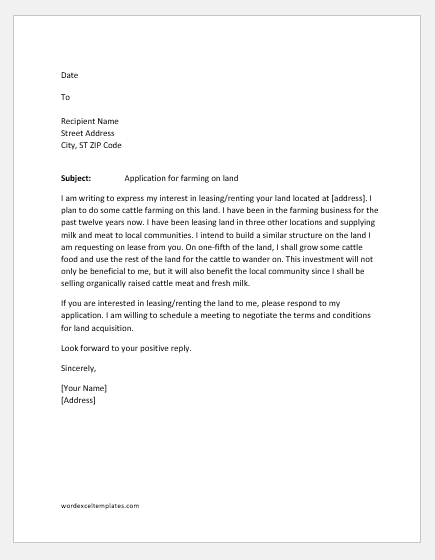 Letter requesting land for farming