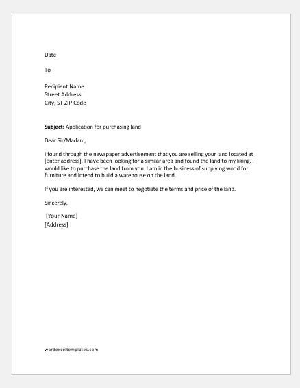 Sample Letter To Purchase Land from www.wordexceltemplates.com