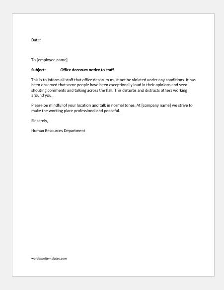 Office decorum notice to staff