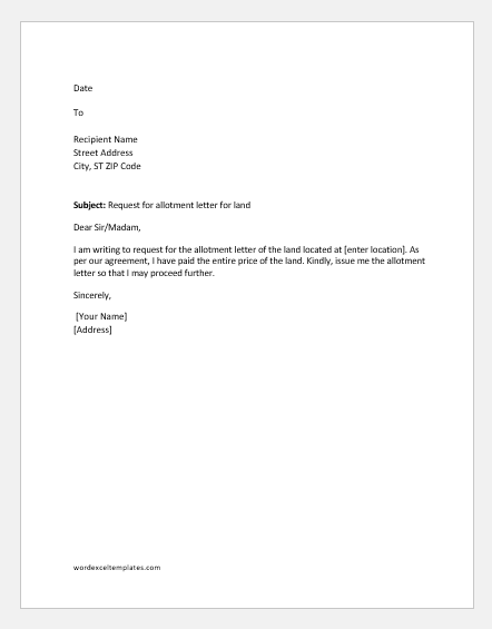 Request letter for land allotment