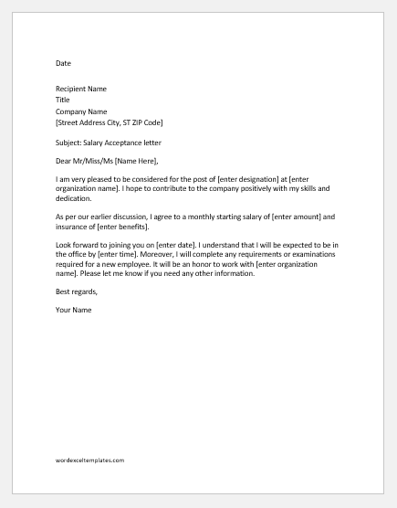 Salary acceptance letter