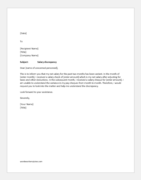 Letter To Hr For Incorrect Salary Samples Word Amp Excel