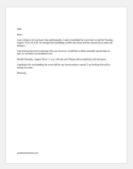 Sample email to reschedule an event