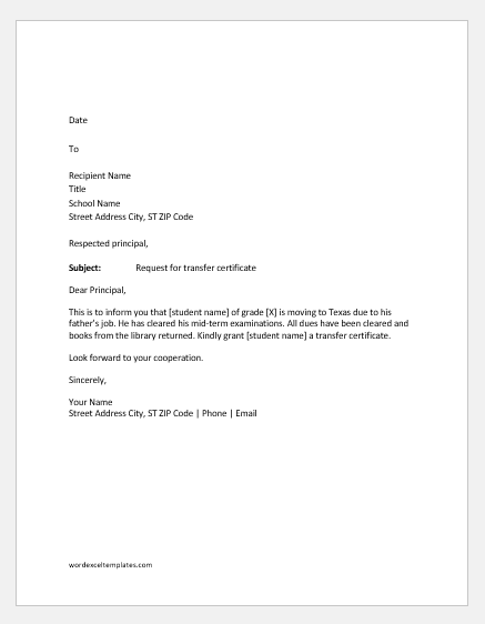 School transfer request letter to the principal
