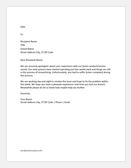 Customer complaint response letters word excel templates for Customer response letter templates