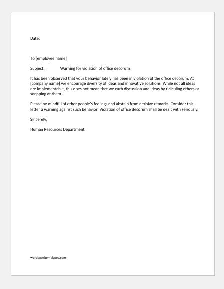 Warning for violation of office decorum