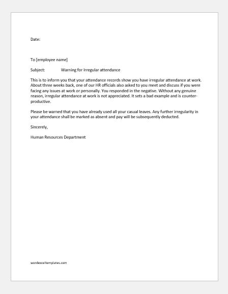 Warning letter for irregular attendance