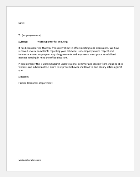 Warning letter for shouting in office