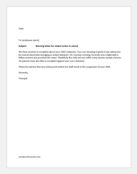 Warning letter for violent actions in school