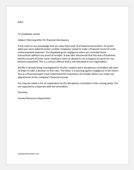 Warning letter to employee for financial discrepancy