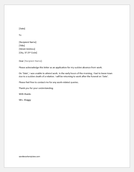 Absence excuse letter for work due to emergency