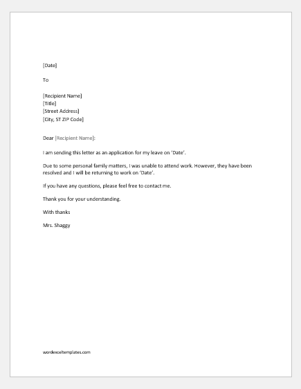 Absence excuse letter for work due to personal reason