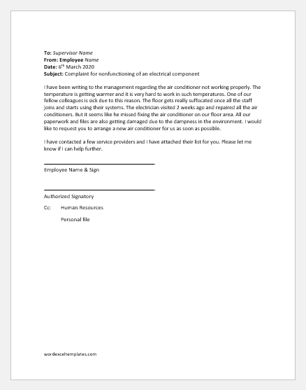 Complaint letter about air conditioner not working in office