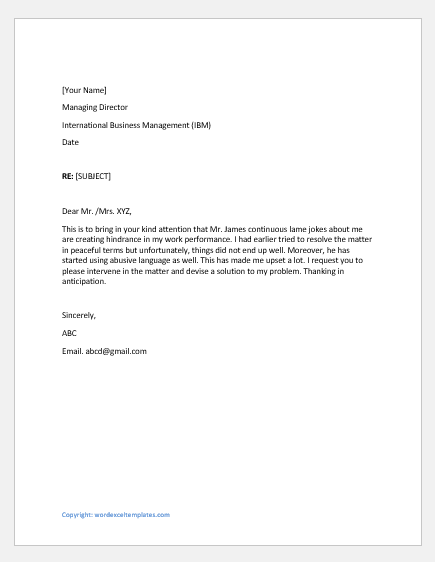 Complaint letter for bad language use