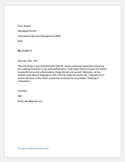 Complaint letter for bad language use