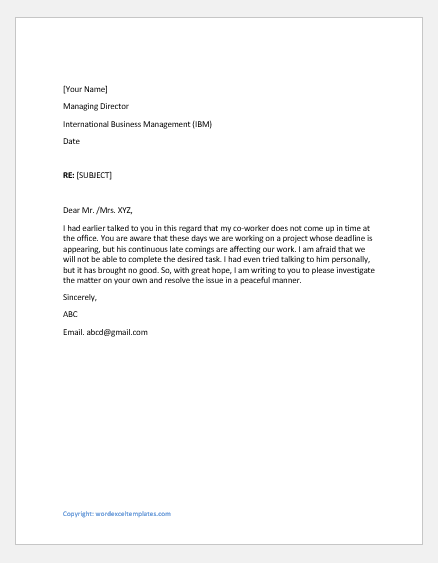 Complaint letter to supervisor against a coworker