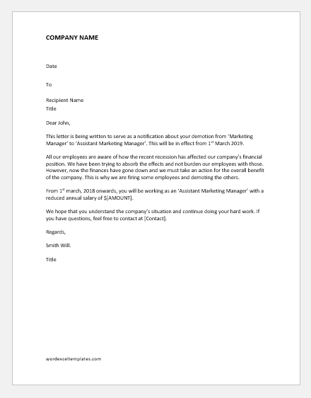 Demotion letter due to Financial Crisis