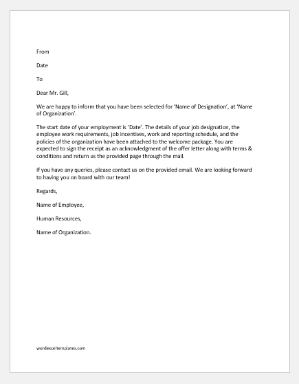 Letter Of Declining Job Offer from www.wordexceltemplates.com