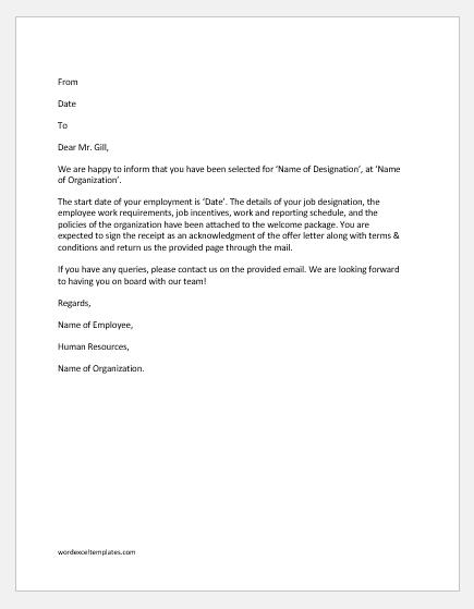 Detailed job offer letter