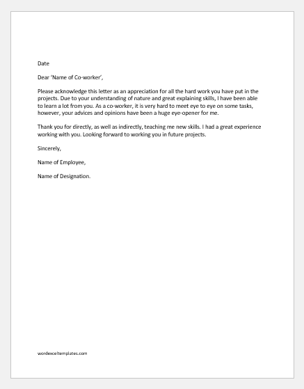 Appreciation Letter To Colleague from www.wordexceltemplates.com