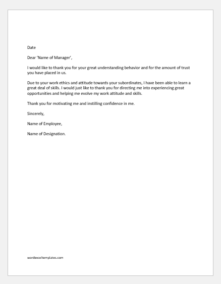 Employee appreciation letter to the manager