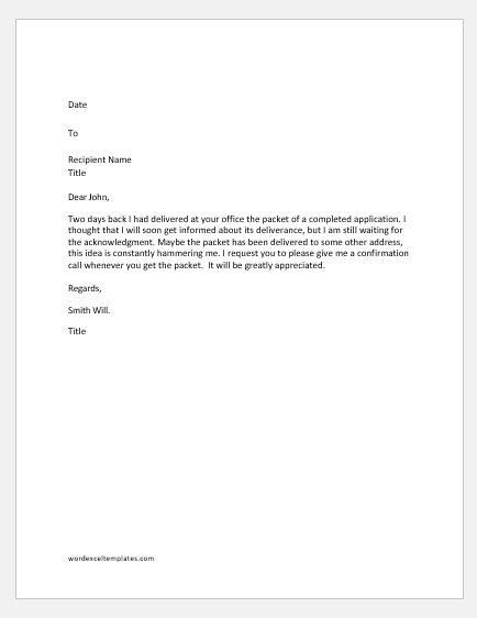 Letter Requesting Confirmation Receipt of a Parcel