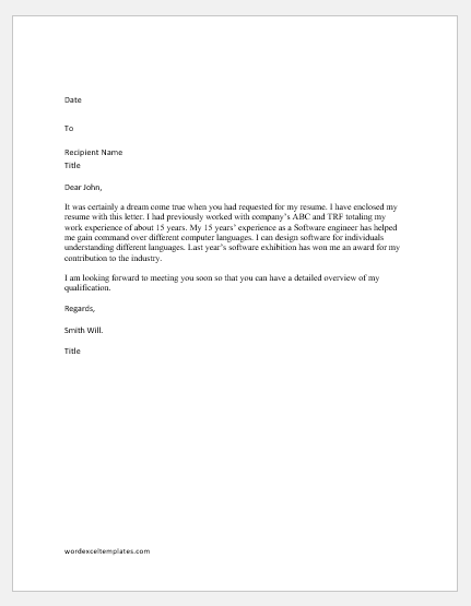 Letter in Response to the Request made for Resume