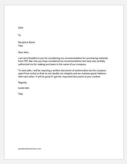 Letter requesting confirmation of authorization to take action