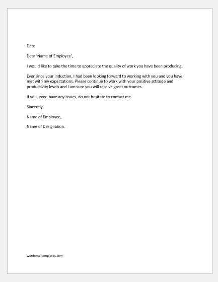 Managers appreciation letter to an employee