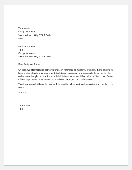 Notification letter to customer for missing delivery