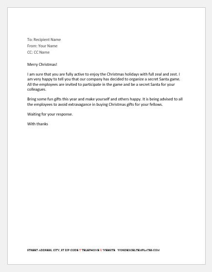 Secret Santa Email to Staff