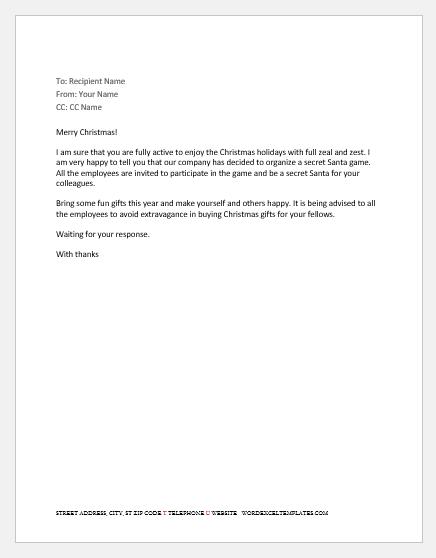 Secret Santa Email to Staff