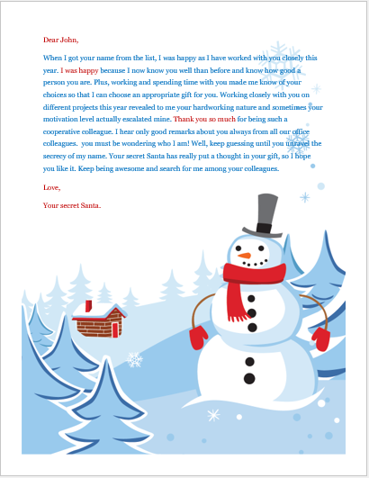 Secret santa email sample
