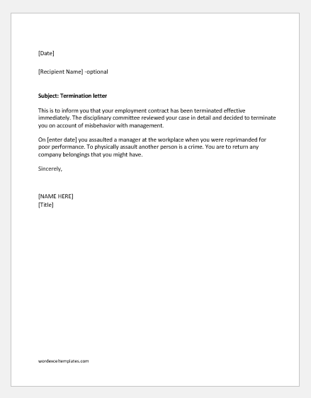Termination Letter For Misbehavior With Management Word