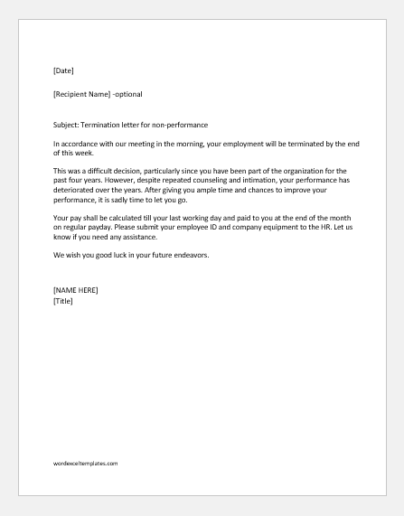 Termination Letter for Non-Performance