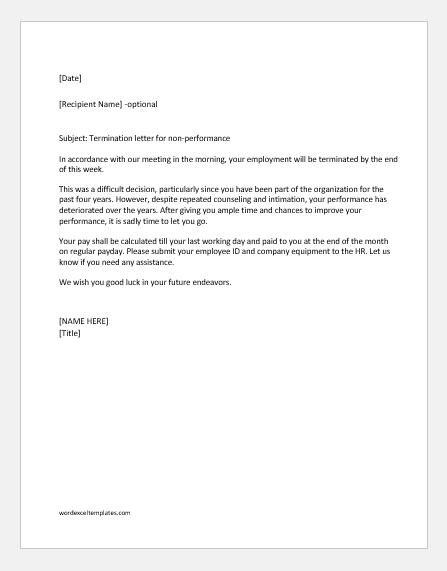 termination letter for non