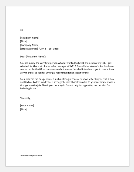 Thank Someone for Writing a Recommendation Letter