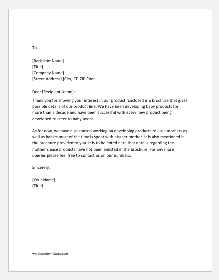 Thank You Letter for Asking Information or Sales Literature