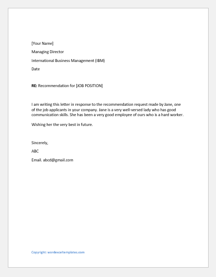 Weak Recommendation Letter for a Job Candidate
