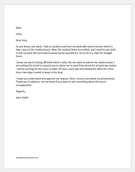 Work from Home Part-Time Request Email