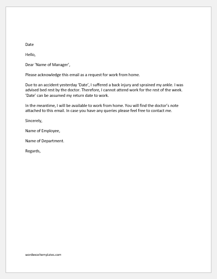 work from home request email samples