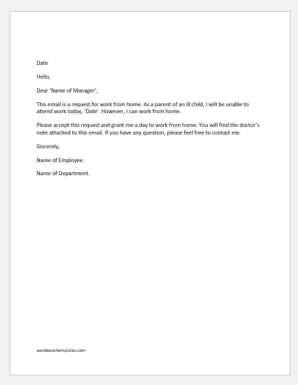 Work from Home Request Email